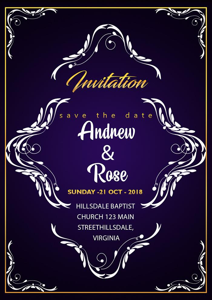 Wedding Invitation Card Template With Vintage Flower Frame