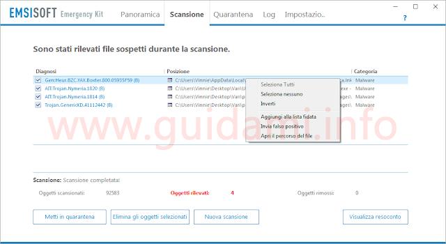 Emsisoft Emergency Kit schermata dei risultati della scansione