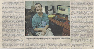 Article from the newspaper; I am pictured at my desk holding a copy of I'm Not Here to Inspire You