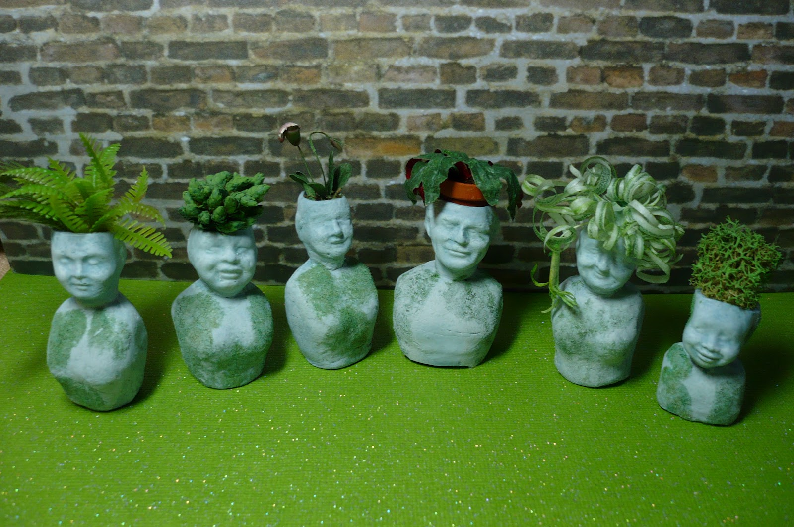 Head Planters A Small Hearts Desire Miniature Stone Head Planters Finished
