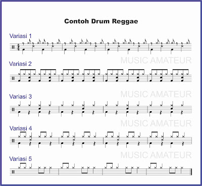 contoh beat drum musik reggae partitur