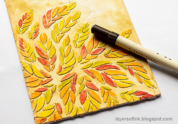 Layers of ink - Tumbling Leaves Canvas Tutorial by Anna-Karin Evaldsson. Add a shadow to the leaves.