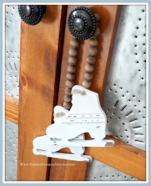Cottage -Farmhouse- Christmas- Foyer-Wood-Bead-Skate-Ornament-From My Front Porch To Yours