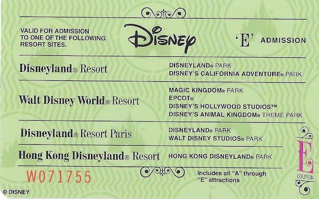 E Ticket Disney Parks Admission Ticket