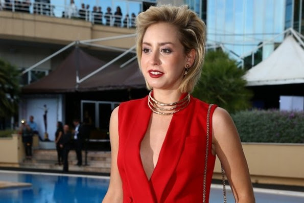 Jazmin Grace Grimaldi attended the Amber Lounge fashion and charity event  of the Formula 1 Monaco Grand Prix, Jazmin Garimaldi wore red dress