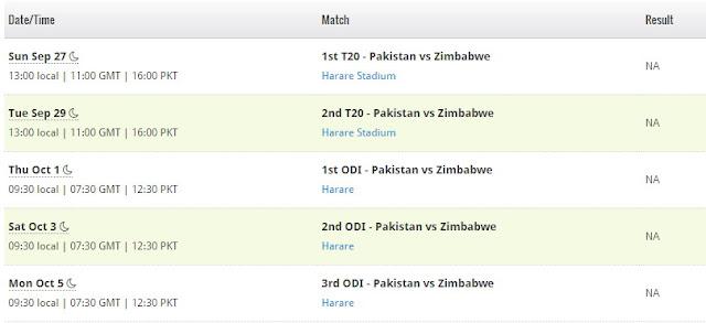 Pakistan Vs Zimbabwe 2015 Series Schedule