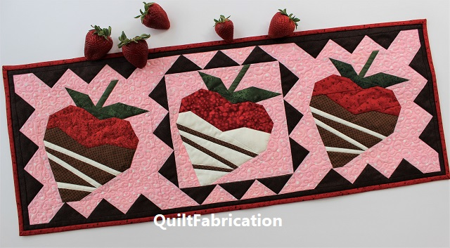 Chocolate Dipped Strawberries table runner by QuiltFabrication