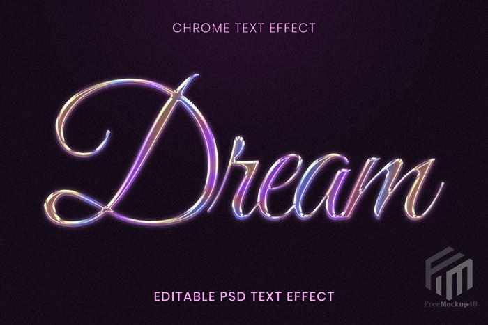 Chrome Editable Psd Text Effect