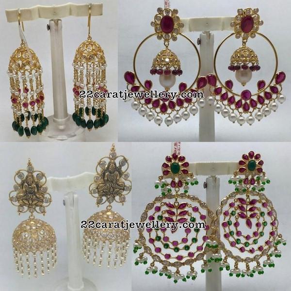 Chandbali Hoops with Gemstones
