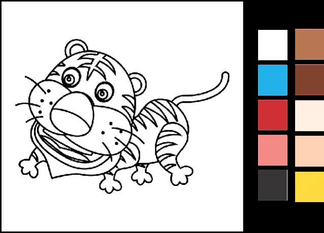 11. Gambar Mewarnai Hewan Harimau