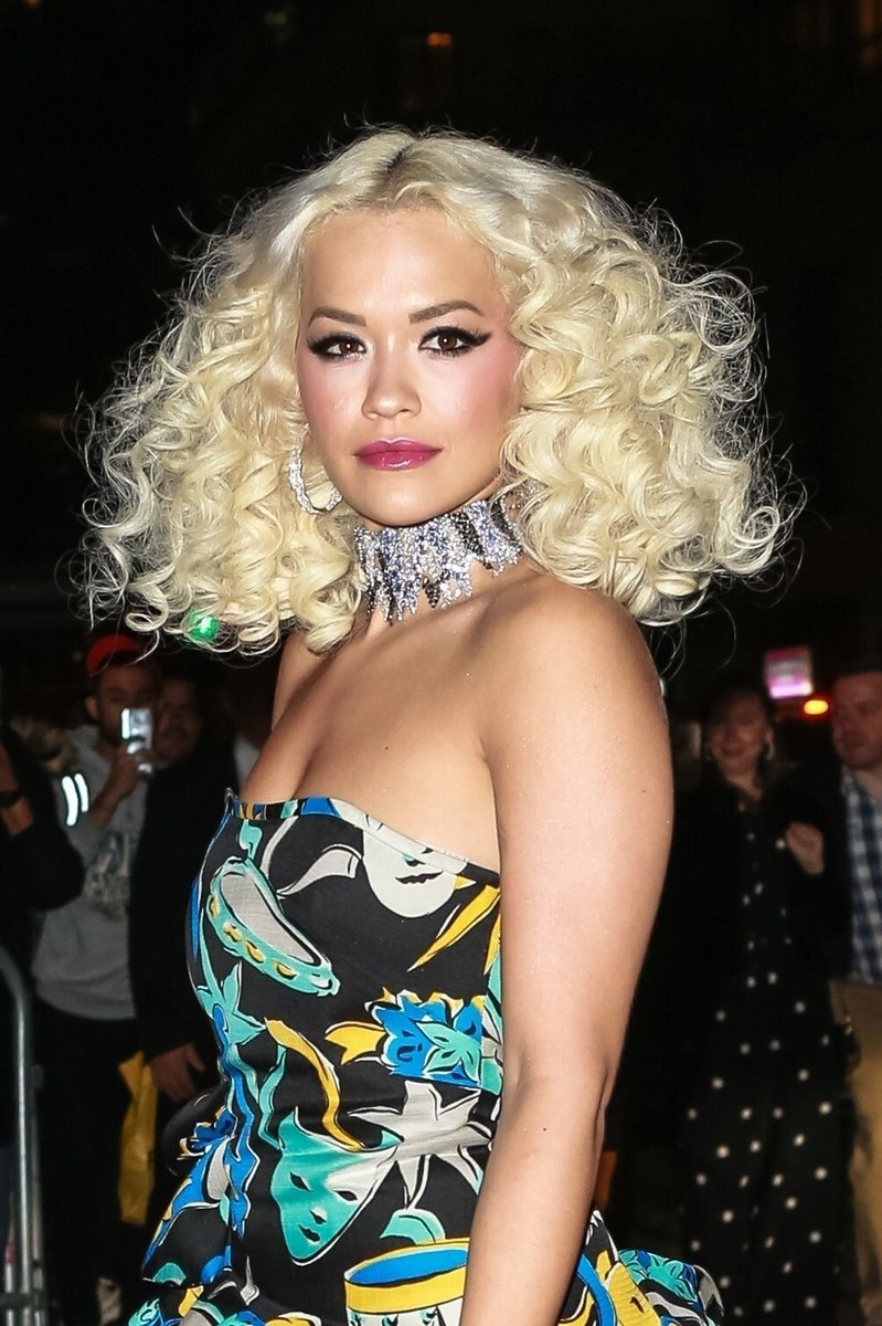 Rita Ora goes strapless in quirky printed dress for Marc Jacobs' wedding