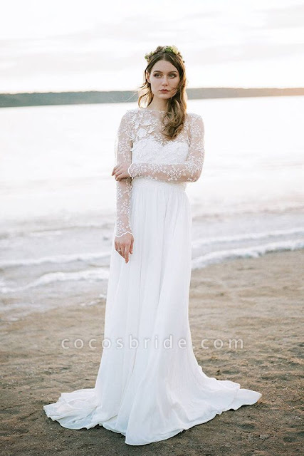 Awesome Long Sleeve Appliques Chiffon Wedding Dress