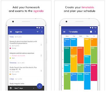 Aplikasi yang berbasis Android yang satu ini menyediakan ragam fitur didalamnya yaitu sebagai berikut : catatan agenda yang bisa dimanfaatkan untuk mengerjakan PR atau ujian sekolah, kalender yang berguna untuk mencatat semua jadwal pelajaran sekolah dan kelebihannya dapat di hubungkan ke Google Drive. Aplikasi ini dibuat untuk membantu para pelajar untuk memanajemen waktu belajar dan kegiatan-kegiatan sekolah.  Aplikasi School Planner ini sangat cocok untuk menyusun jadwal baik itu jadwal harian, bulanan dan tahunan jadi tersusun dengan rapi baik itu Sekolah Dasar, Sekolah Menengah Pertama, Sekolah Menengah Atas dan juga Perguruan tinggi. Dengan menggunakan aplikasi School Planner anda dapat mengelola atau merekap semua nilai siswa dari semua mata pelajaran yang Anda ajarkan di sekolah apalagi sekarang semua sekolah menggunakan sistem daring (Belajar Online).