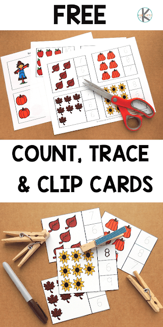 FREE Fall Count, Trace & Clip Cards for Kindergarten - these free printable fall math cards are great to help kids practice counting these fall items #kindergarten #math #fall #free #freeprintable #counting #kindergartenworksheetsandgames