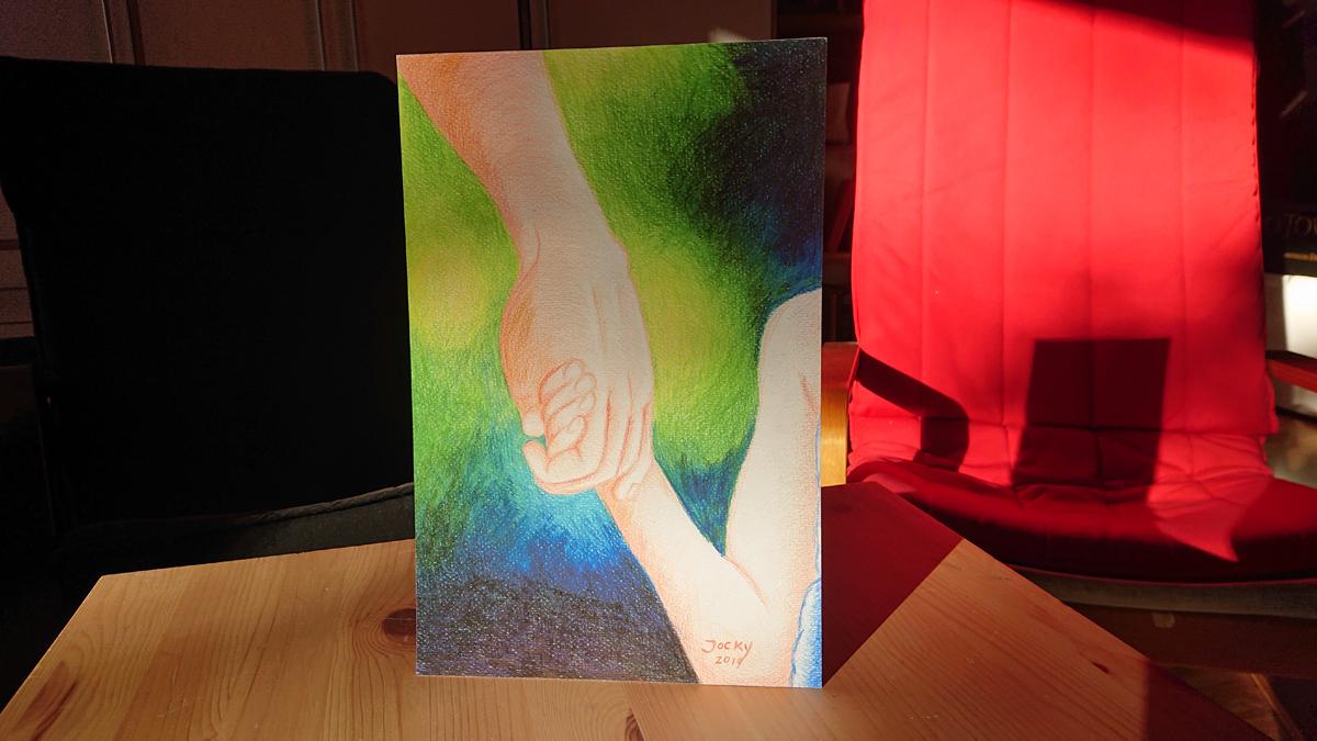Kunstdrucke: Getragen von der Hand des Vaters (Foto)