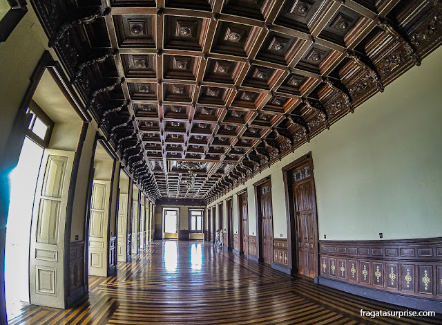 Forro em jacarandá em um salão do Palácio Rio Branco, Salvador, Bahia