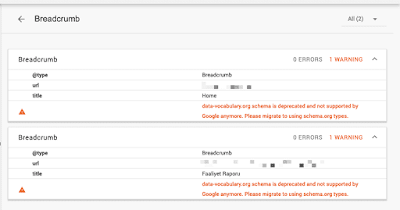 "Fixing ""data-vocabulary.org schema deprecated"" Error in blogger."