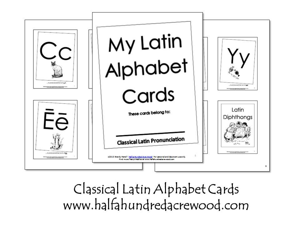 Latin Alphabet Coloring Book and Flashcards {Printables} - Half a ...