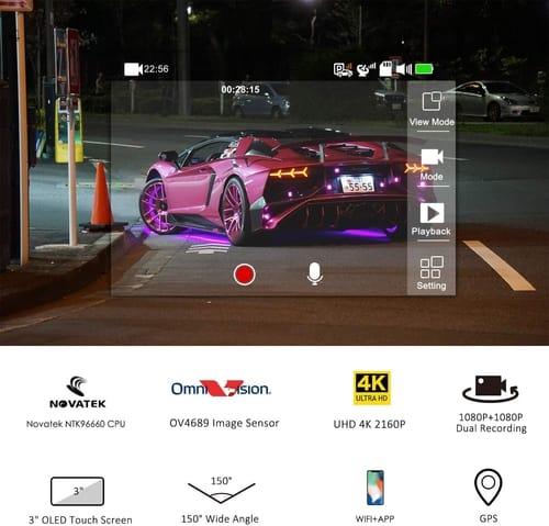 Review Lifechaser Dual Dash Cam 4K Car Camera