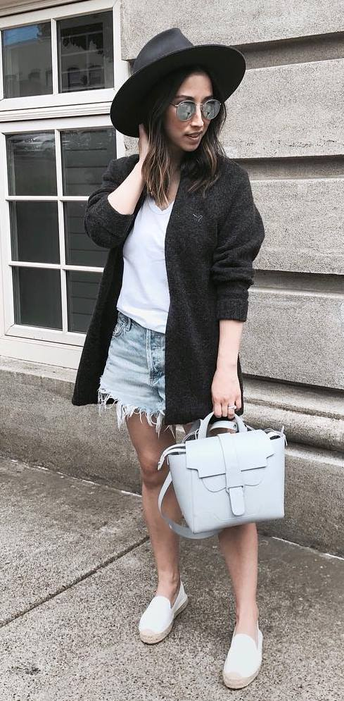 street style obsession / hat + white tee + jacket + bag + denim shorts + espadrilles