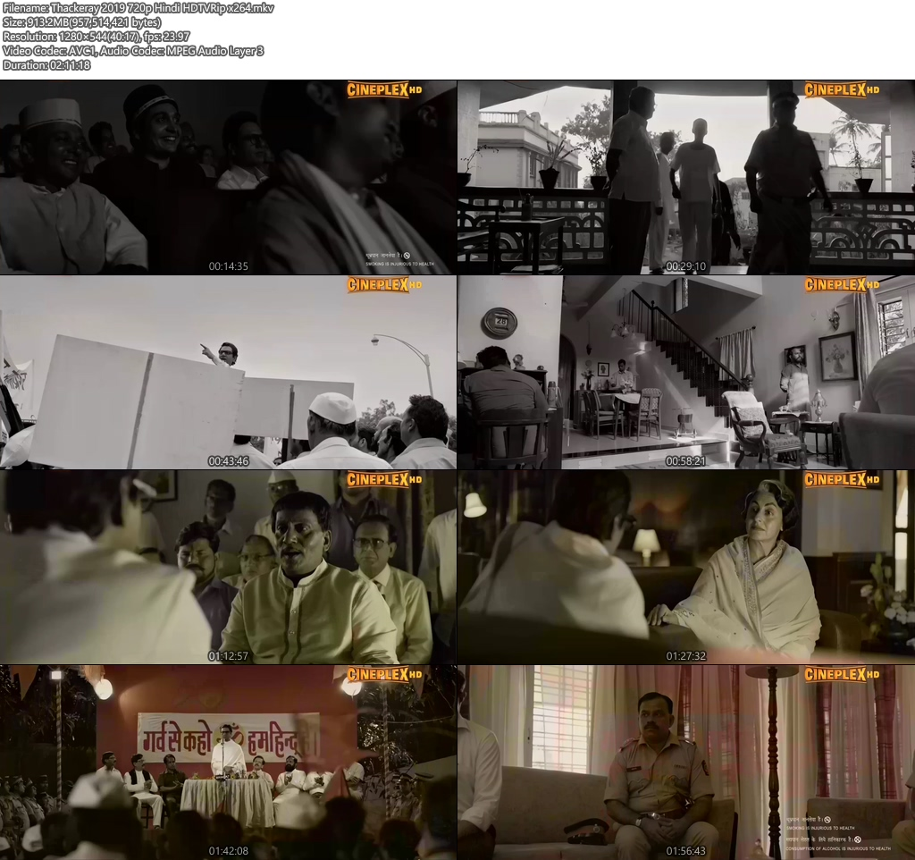 Thackeray 2019 720p Hindi HDTVRip x264 | 480p 300MB | 100MB HEVC Screenshot