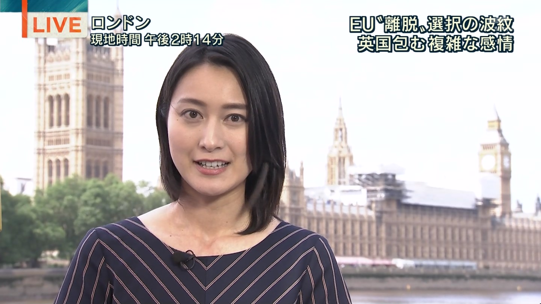 ロンドンから生中継をするお仕事熱心な小川彩佳