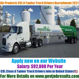 Air Products CDL Class a Tanker Truck Driver Recruitment 2021-22