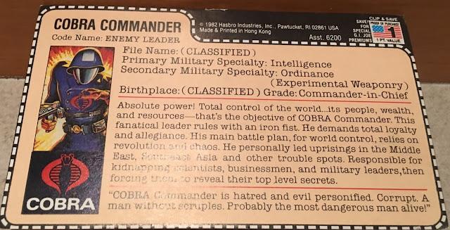 1982 Straight Arm Cobra Commander, Snake Eyes, Sears Catalog, Mail Away, Redback Filecard