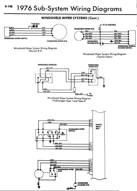 1976 Models Windshield Wiper Wiring Diagrams