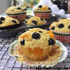 Blueberry and peach muffin