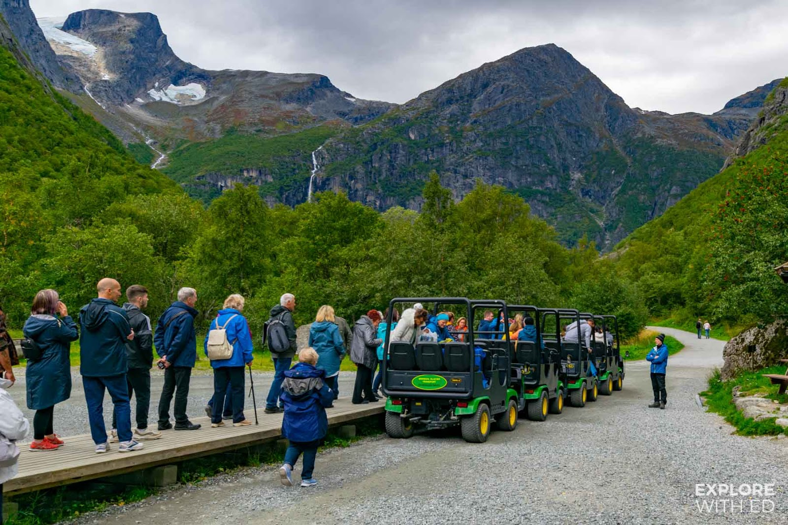 The troll-car stop near Briksdal Glacier