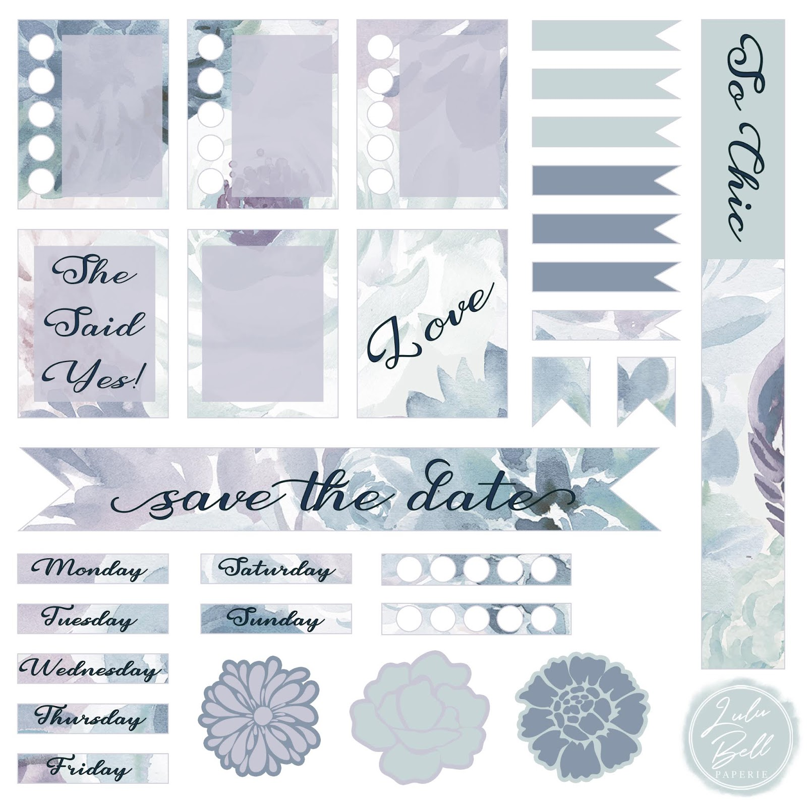 Dusty Blue, Mint, and Purple FREE Floral Wedding Planner Sticker Sheet