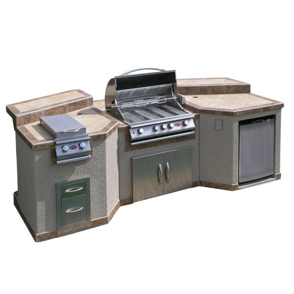 Three-piece island with rotisserie and four-burner barbecue grill