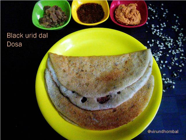 Black urid dal dosa also called as mulu ulundhu dosa in Tirunelveli. This is a famous breakfast dish in Tirunelveli. This is an easy and healthy dosa with rice, black urid dal and fenugreek. We often prepare this dosa for weekend breakfast or dinner. The addition of black urid dal with its skin is what it makes it so special and unique. Black urid dal contains a lot of nutritional value. In most of our food items we include black urid dal rather than the white variety. This black urid dal is also super easy to make with simple two step process. I use split black gram dal in this recipe, but you may also use the whole black gram dal. Many people have a doubt that if black split  grams are ground along with the skin then how it will taste. It is very tasty if they are ground and fermented properly. The best accompaniment for this black urid dal dosa are onion garlic coconut thuvaiyal, ellu podi  and  powdered palm jaggery.  Follow these simple step by step instructions for a super tasty and healthy dosa. For this dosa, it is important not to over grind the urid dal. If you over grind it with more water then the dosa will turn very thin and flat not fluffy. Make sure to grind the dal and rice in correct consistency. Now let us see how to prepare black urid dal dosa with step by step photos