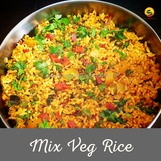 mix vegetable rice is very simple yet flavorful at the same time .There are no spl fancy spice mixes needed just the usual ones we have in our kitchen shelves. You can quickly prepare this flavourful rice for your lunch .it is vegan and GF friendly too.chitrannam, kalandha saadham , chitranna, kannu pandigai, kaanum pongal, aadi perukku, what is kaanum pongal , maatu pongal