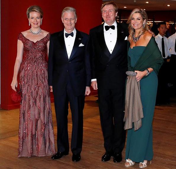 Queen Maxima wore Dries Van Noten dress, Queen Mathilde wore Jan Taminiau Gown, Diamond earrings, diamond tiara, style royal family