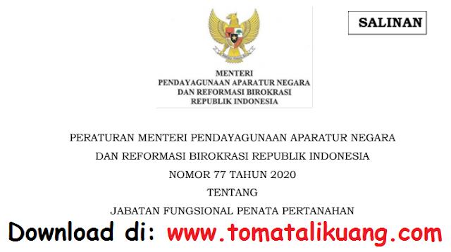 permenpan rb nomor 77 tahun 2020 tentang jabatan fungsional penata pertanahan pdf tomatalikuang.com