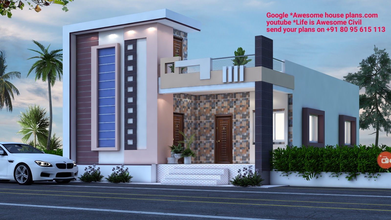 30 x 40 east face house plan with 3d front elevation ...