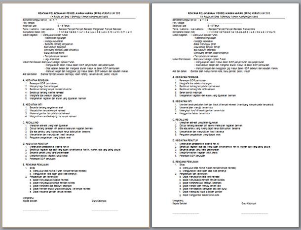 Contoh RPPH TK RA Kelas B Semester 1 dan 2 Kurikulum 2013