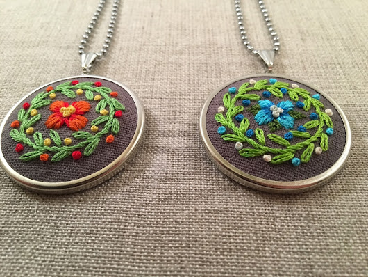 Embroidered Flower Necklaces