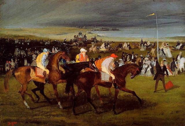 Эдгар Дега - На скачках. Старт (1861)