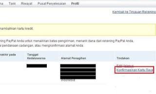 konfirmasikan kartu kredi Cara mudah Verifikasi akun Paypal dengan VCC tanpa Kartu Kredit