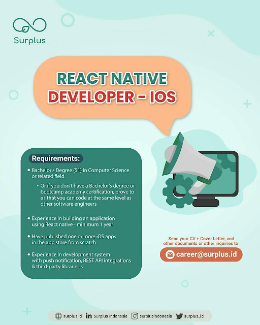 Lowongan Kerja React Native dan iOS Developer
