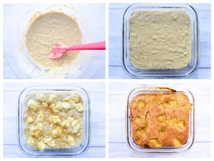 Rhubarb & Custard Pudding - Step 3 - batter mixed and poured over the rhubarb in the baking dish topped with custard