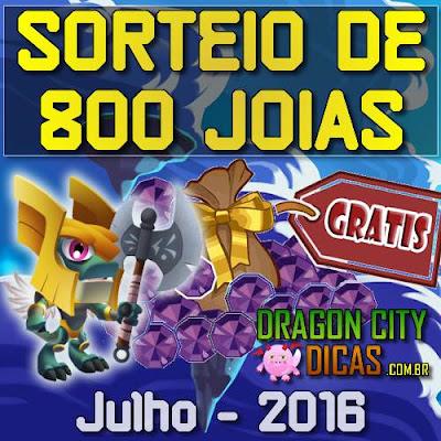Super Sorteio de 800 Joias Grátis - Julho 2016