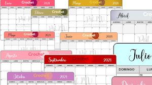 Calendario Crochet mes por mes 2021 🗓️ Para descargar gratis 📥