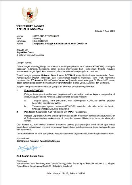 Soal Surat Stafsus Jokowi