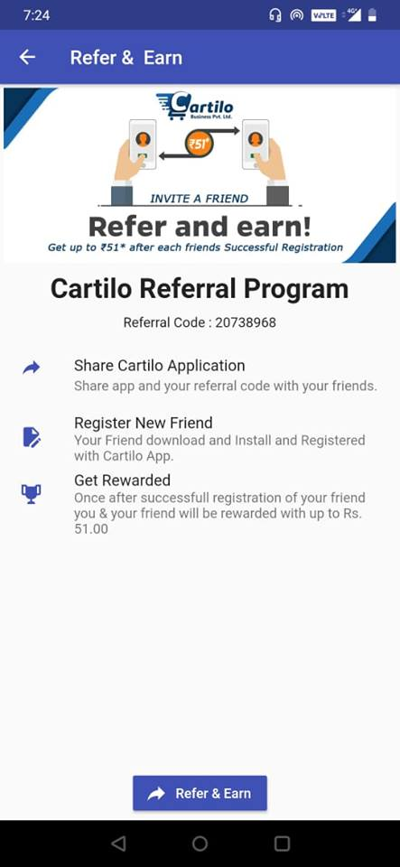 Cartilo App: Get FREE Recharge Up to Rs.51 + Referral Offer