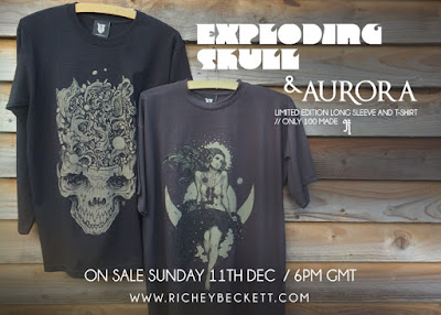 Limited Edition Aurora T-Shirt & Exploding Skull Long Sleeve T-Shirt by Richey Beckett