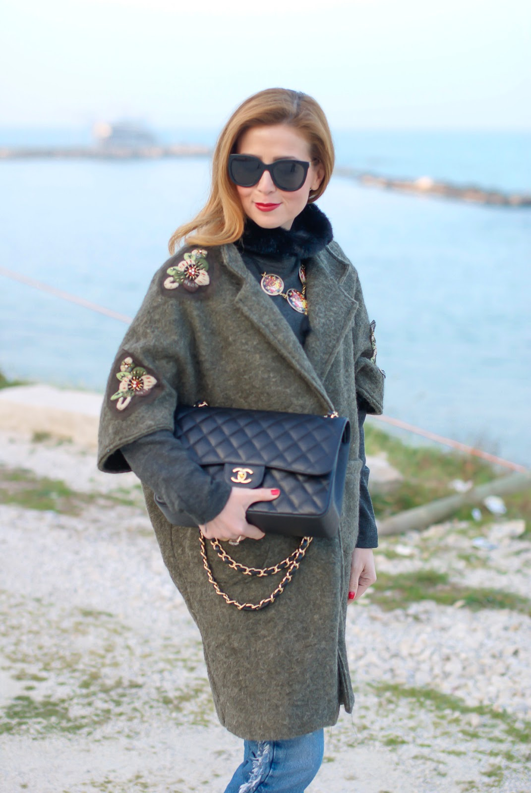 Trendyberry embroidered coat and Chanel bag for a street style casual look on Fashion and Cookies fashion blog, fashion blogger style